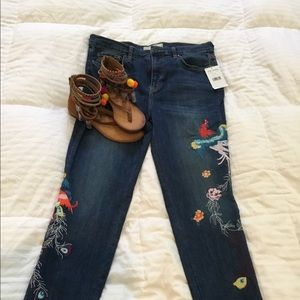 New Free People Embroidered skinny jeans